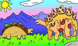 Tacosaurus meets a Pizzasaurus