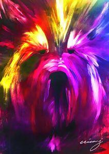 Rainbow Terrier Acrylic Painting
