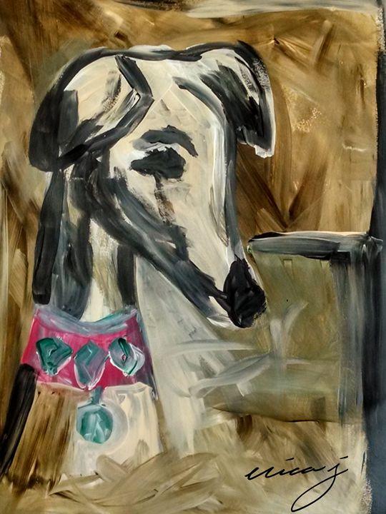 Dog Art -Whippet - EricaJ-LA Dog Portraits