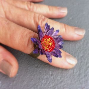 Amethyst & Red Flower Ring