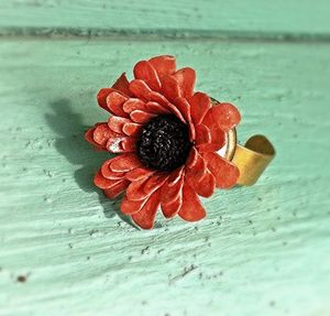 Salmon Flower Ring