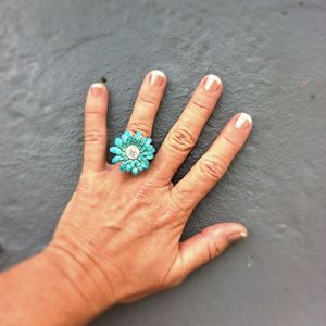 Chunky Flower Ring in Aqua