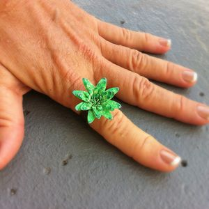 Harajuku Green Flower Ring