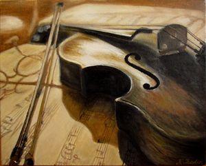 Old violin music. Original oil paint