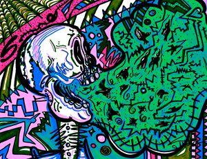Screaming Skull Green