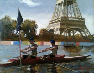 Sculling Past the Eiffel Tower