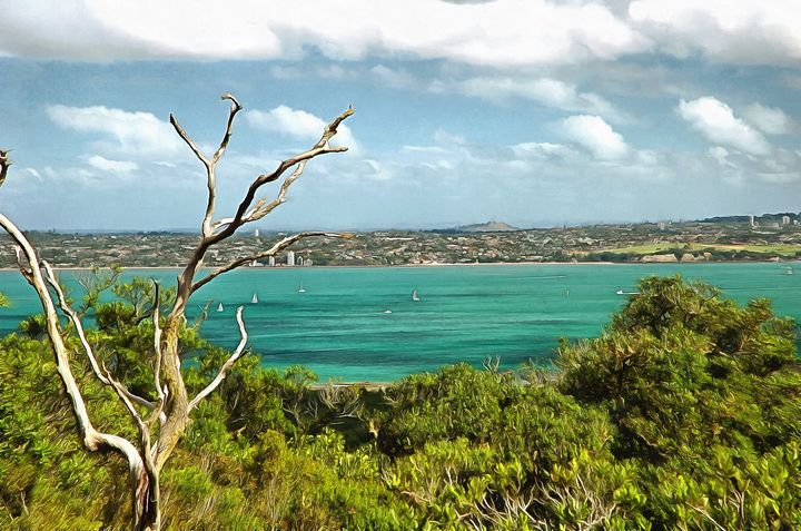 View of auckland across Hauraki gulf - Chandra