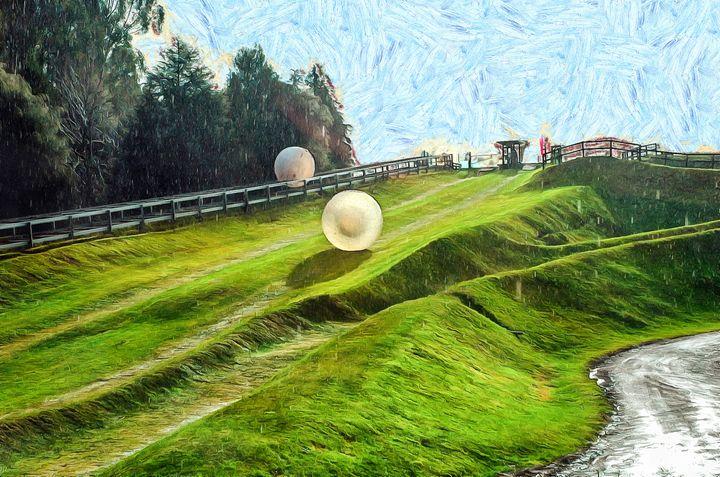 Zorbing Downhill-New Zeala - Chandra