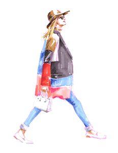 Girl in colorful coat