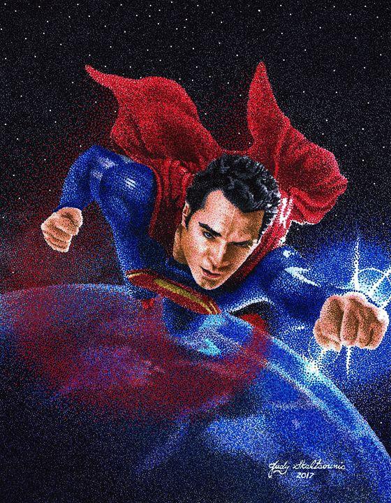 Superman - Pointillism Art by Judy
