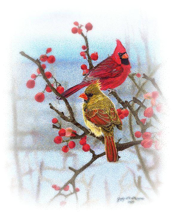 Winter Cardinals - Pointillism Art by Judy