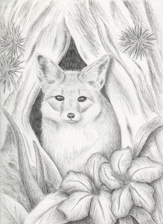 Desert Fox in Hallow Tree - JK Art Life