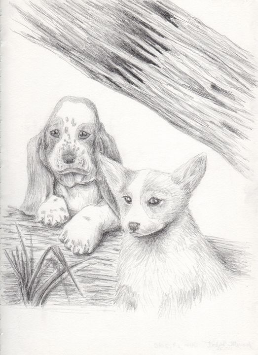 Basset Hound and Welsh Corgi Dog Por - JK Art Life