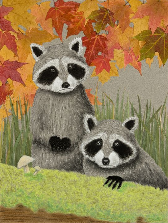 Fall Raccoons - JK Art Life