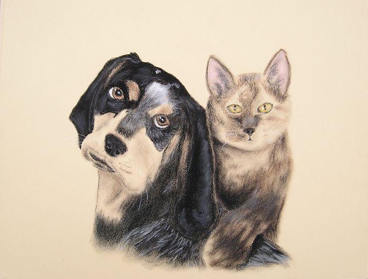 Blue Tick Hound And Calico Cat - JK Art Life