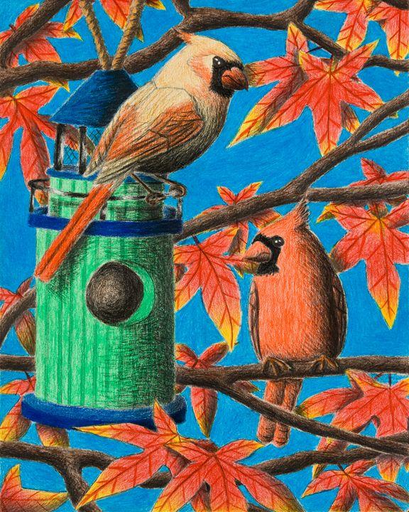 Cardinals In Fall - JK Art Life