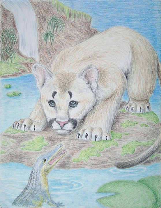 Baby Cougar And Alligator - JK Art Life