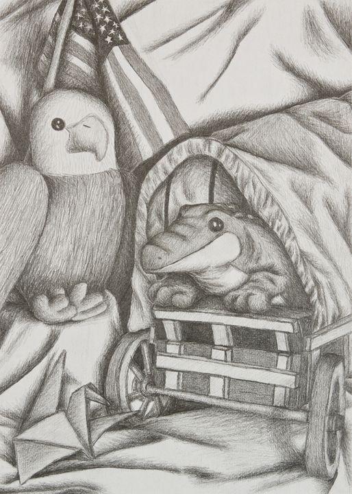 Alligator And Eagle Still Life - JK Art Life