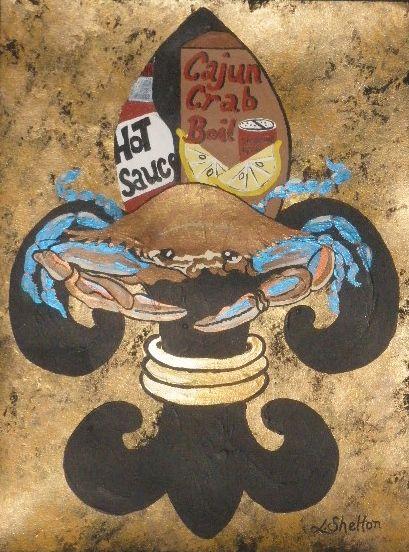 """*""""Blue Crab Fleur de Lis"""" - Linda D. Shelton's Paint Box"""