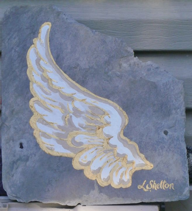 "*""Angel Wing on Slate - #2 - Linda D. Shelton's Paint Box"