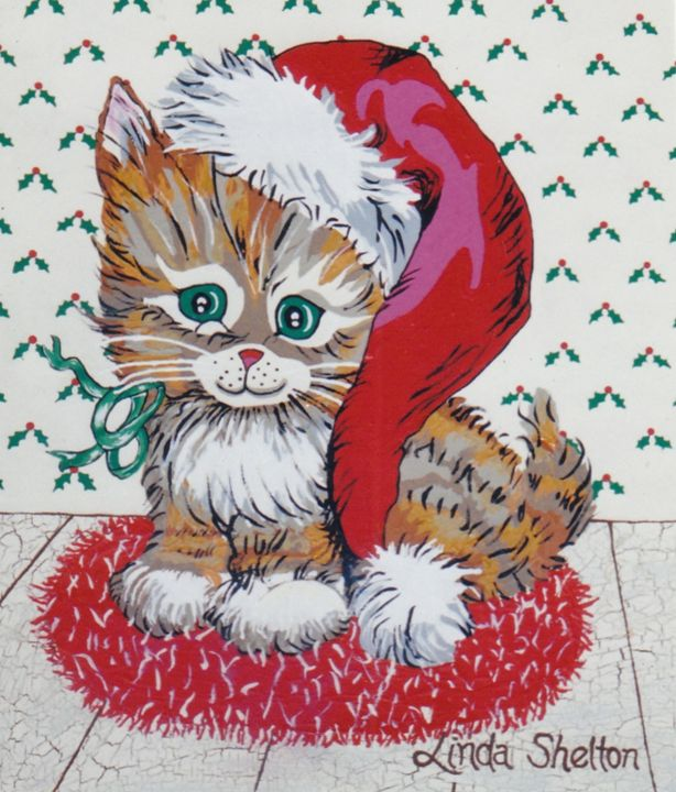 """Christmas Kitty"" - Linda D. Shelton's Paint Box"
