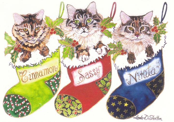Christmas Kitty Trio - Linda D. Shelton's Paint Box