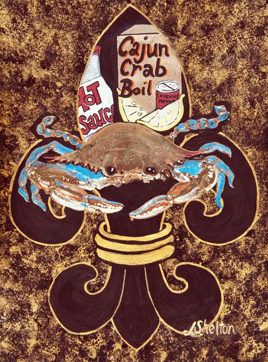 """""""Blue Crab Fleur de Lis"""" - Linda D. Shelton's Paint Box"""