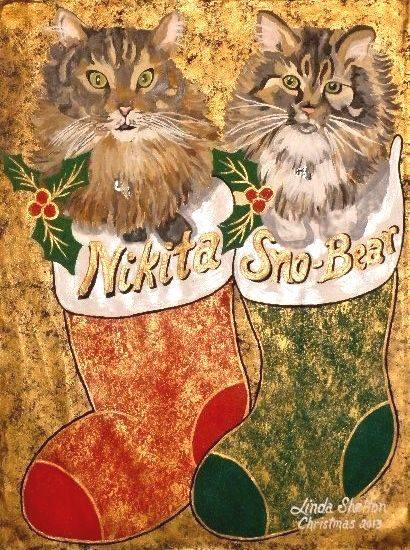 """Sno-Bear & Nikita"" - Christmas 2013 - Linda D. Shelton's Paint Box"