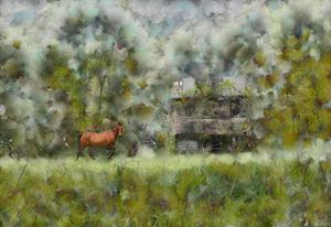 HORSE AND OLD HOUSE