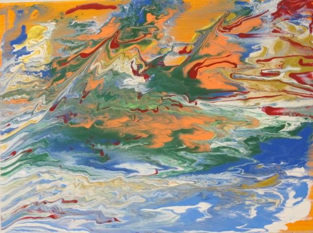 Orange phase fluid abstract painting - Frederick Agnew