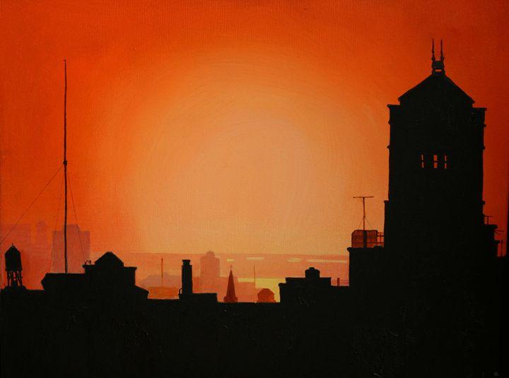 Rooftop Sunset - Ken Vrana Art