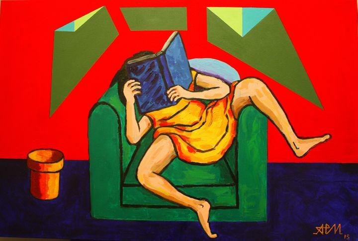 The girl in yellow reading - Antonio Parra