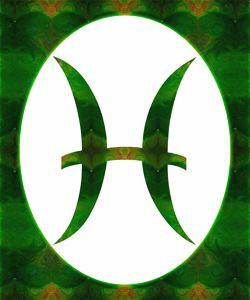 Pices Symbol and Heart Chakra Abstra