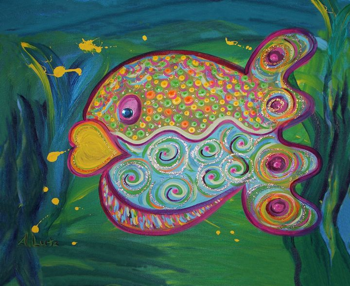 Purple Polka Dotted Puffer Fish - Decorative Impressions by Ann Lutz