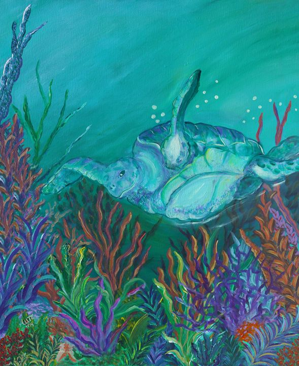 Sea Turtle Among Coral - Decorative Impressions by Ann Lutz