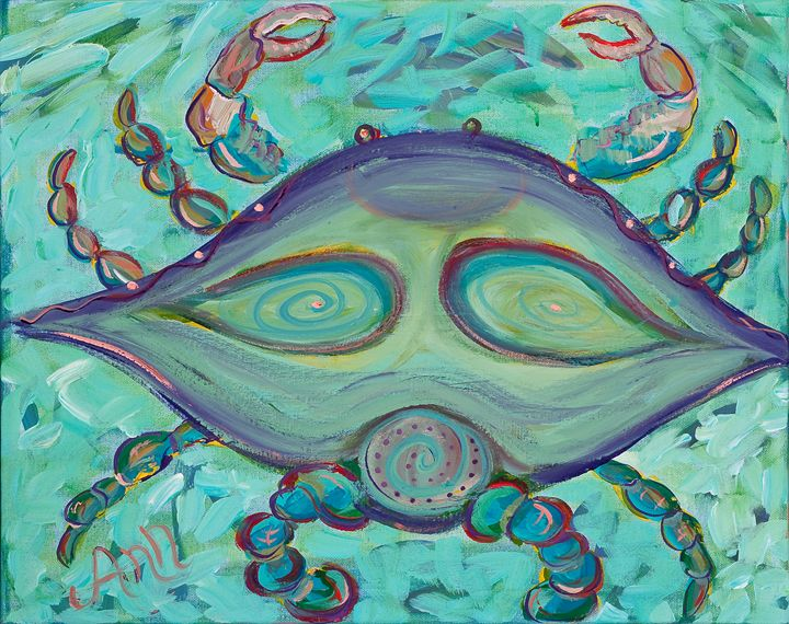 Teal Crab - Decorative Impressions by Ann Lutz