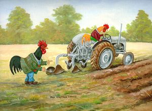 Dressed Chicken Ploughing
