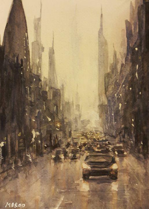 Watercolor Cityscape 2 - Maroo Art