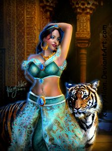 Disney princess jasmine and tiger