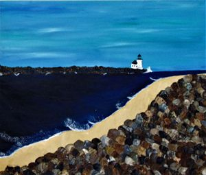 Lighthouse on breakers with rocks