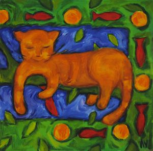 Cat's dreams on orange tree