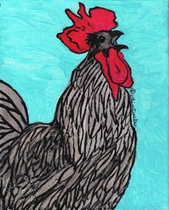 Time to Get Up Today--Black Rooster