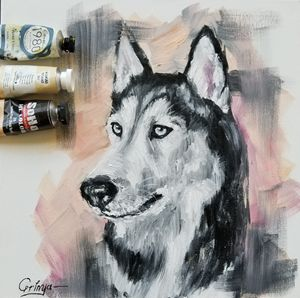 Husky original oil painting on canva