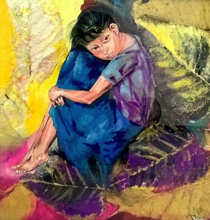 Cuddling Her Sorrow- Original Art - InspiredArt by Neeta