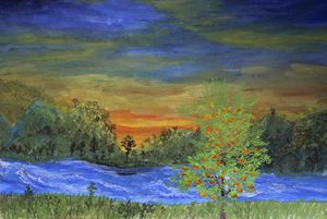 Southern landscape with persimmon tr