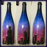 Painting on a Champagne Bottle