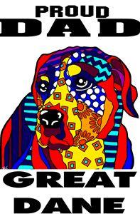 Great Dane Proud Dad Gift Dog Father - Jackie Carpenter Art