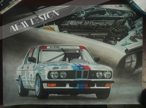 Car drawing painting BMW ///M5 E28