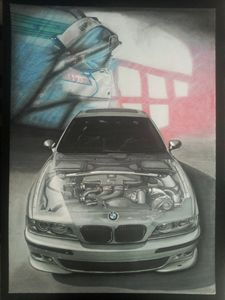 Car Drawing Painting BMW ///M E39
