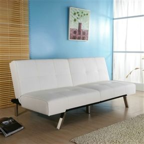 White Leatherette Futon - TimsArtShop